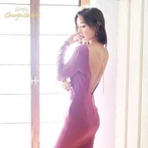 キャバ ドレス キャバドレス ワンピース 大きいサイズ 背中見せ マーメイド タイト ドレス S M L パープル シンプル 無地 膝丈 BOR|dazzy