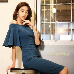 ドキャバ ドレス キャバドレス ワンピース タイト ミニドレス S M L 紺 シンプル 無地 膝丈 清水沙也佳|dazzy