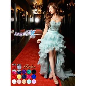 送料無料 ドレス キャバ [AngelR]デコルテビジューウェディングフリルシフォンテールカットロングドレス|dazzy