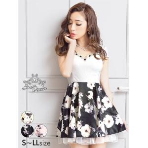 ドレス キャバ ワンピース 大きいサイズ S〜LLサイズ ビジュー付花柄サテン×チュールAラインミニドレス キャバドレス 3/24再入荷|dazzy
