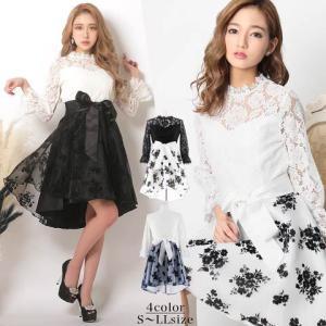 キャバ ドレス キャバドレス ワンピース 大きいサイズ ウエストリボン モノトーン 花柄 オーガンジー Aライン フレ|dazzy