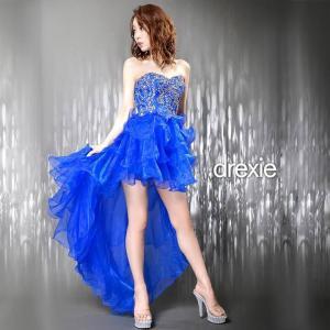 送料無料 ドレス キャバ ワンピース SMサイズ バック編み上げティアードフリルテールカットインナーミニロングドレス キャバドレス|dazzy