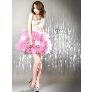 キャバ ドレス パーティ ナイト ボリューム チュール スカート ベア ミニ ワンピ ドレス/白 グレー ピンク グラデ/SM M/drexie|dazzy