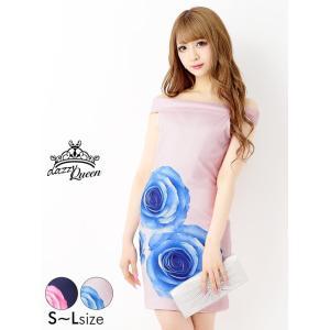 キャバ ドレス キャバドレス ワンピース 大きいサイズ 大判roseプリントオフショルタイトミニドレス S M L ピンク 紺 flower 花柄|dazzy