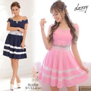 ドレス キャバ ワンピース 大きいサイズ SMLサイズ オフショルダーウエスト透けレースAラインミニドレス キャバドレス 3/24再入荷|dazzy