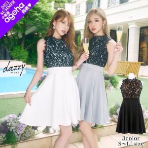 ワンピース 結婚式 ドレス お呼ばれ 大きいサイズ S M L LL 3Lサイズ ブラックレースノースリフレアAラインドレス 二次会 謝恩会|dazzy