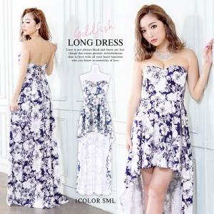 キャバ ドレス ミニ キャバドレス ワンピース ナイトドレス 大きいサイズ 花柄 テールカット ドレス S M L 白|dazzy