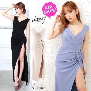 キャバ ドレス キャバドレス ワンピース ナイトドレス 大きいサイズ スリット タイト ロングドレス S M L 黒 ベージュ シンプル 無地 ハ|dazzy