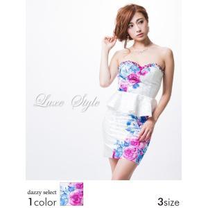 キャバ ドレス キャバドレス ワンピース Alice S M L サイズ ラインストーン付背中編み上げ薔薇柄ベアペプラムタイト ミニドレス 白|dazzy
