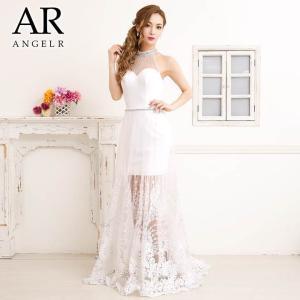AngelR キャバ ドレス キャバドレス ワンピース シアーレッグ ホルター フレア ロングドレス longdress 大人 女性 白 黒 モ|dazzy