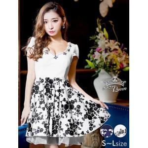 ドレス キャバドレス ワンピース ナイトドレス 大きいサイズ S M L 胸元 スカラップ 花柄 Aライン ミニドレス フレア 花柄 モノトーン|dazzy