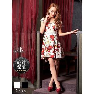 キャバ ドレス パーティ ナイト花柄フェミニンフィッシュテールAラインミニドレス/白 黒/S M/dazzyQueen/絶対保証|dazzy