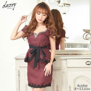 キャバ ドレス キャバドレス ワンピース ナイトドレス 大きいサイズ S M L ウエストリボン付 ジャガード ペプラム タイト ミニドレス da|dazzy