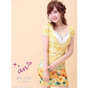 ドレス キャバドレス ワンピース ナイトドレス an S M サイズ レイヤード風花柄タイト ミニドレス ピンク 青 黄色 花柄 パステルカラー|dazzy