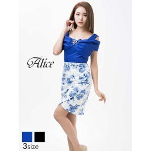 ドレス キャバドレス ワンピース ナイトドレス 大きいサイズ Alice S M L サイズ リボン付きチューリップカット薔薇柄ノースリタイト|dazzy