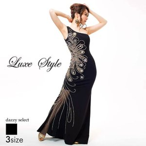 ドレス キャバドレス ワンピース ナイトドレス 大きいサイズ LuxeStyle S M L サイズ 脚見せワンショルダータイトロングドレス 黒|dazzy