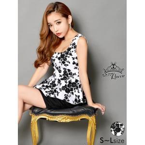 73f2d052ca20a キャバ ドレス キャバドレス ワンピース 大きいサイズ 2ピース バックリボン付花柄ペプラムセットアップタイト ミニドレス S M L サイズ 黒
