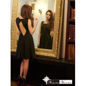 GACKTプロデュース MARGARET NOCTURNE S M L バックホールカットワンカラーAライン ミニドレス 黒 ドレス キャバ キャ|dazzy