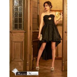 GACKTプロデュース MARGARET NOCTURNE S M L フロントホールカット前ミニテールカットベアロングドレス 黒 ドレス キャバ|dazzy