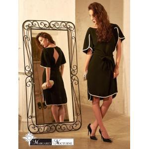 GACKTプロデュース MARGARET NOCTURNE S M L 大きいサイズ ベルト バイカラー スリット タイト ドレス ミニドレス 黒|dazzy