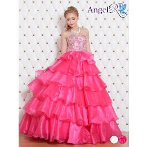 ドレス キャバ キャバドレス ワンピース AngelR 刺繍レースベアティアードフリルロングドレス 白 ピンク 無地 シンプル AR7505 d|dazzy