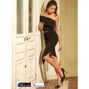 GACKT MARGARET NOCTURNE  大きいサイズ S M L 2ピース ワンショルアシメスリットタイト ミニドレス 黒 ドレス キャ|dazzy