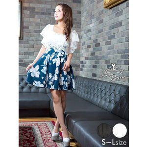 キャバ ドレス キャバドレス ワンピース S M L サイズ 袖シフォンフリル異素材花柄Aラインフレア ミニドレス dazzyQueen 根本弥生 dazzy