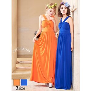 ドレス 結婚式 パーティードレス ワンピース 大きいサイズ S M L スレンダタンクトップロングドレス ブライズメイド carinocaro オ|dazzy