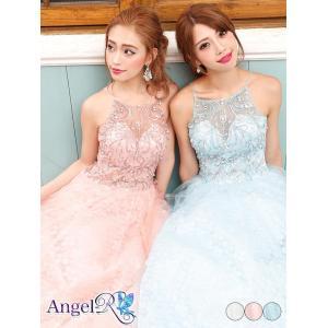 AngelR キャバ ドレス キャバドレス 刺繍レースフレアロングドレス ウェディング ドレス 二次会 花嫁 誕生日 バースデー minidre|dazzy