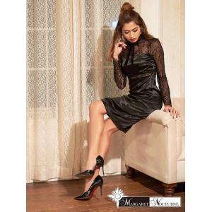 GACKTプロデュース MARGARET NOCTURNE S M L 大きいサイズ ベルベット リボン シアー スリット タイト ドレス 黒 透|dazzy