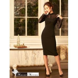 GACKTプロデュース MARGARET NOCTURNE S M L ボトルネックレーススリットタイト 膝丈 ドレス 黒 キャバドレス ワンピー|dazzy