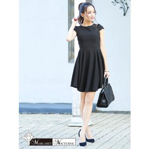 GACKTプロデュース MARGARET NOCTURNE バックリボンカットアウトAライン ミニドレス S M L サイズ 黒 ドレス キャバ|dazzy