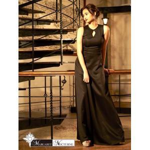 GACKTプロデュース MARGARET NOCTURNE デコルテカットアウトノースリロングドレス  S M L サイズ 黒 ドレス キャバ キ|dazzy
