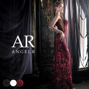 ドレス キャバ キャバドレス ワンピース AngelR サイド透け シアー スパンコール レース タイト ロングドレス S 白 黒 赤 スリット|dazzy