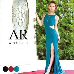 ドドレス キャバ キャバドレス ワンピース AngelR サイド シアー カット タイト ロングドレス S 青 赤|dazzy