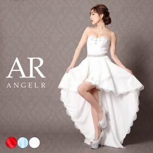 ドレス キャバ キャバドレス ワンピース AngelR 2WAY レース ドレス S 赤 白 青 フリル テールカット 前ミニ インミニ AR83|dazzy