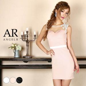 ドレス キャバ キャバドレス ワンピース AngelR デコルテ シアー レース 2トーン タイト ミニドレス 白 dazzy