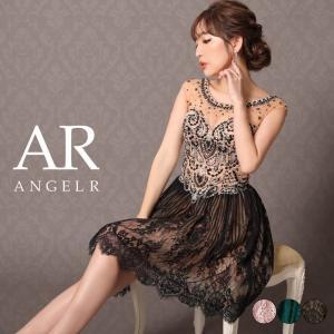 ドレス キャバ AngelR レース ノースリーブ ビジュー フレア ミニドレス  ドレス ワンピース ミニドレス dazzy