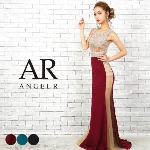ドレス キャバ AngelR トップス スカート サイド シアー ビジュー タイト ロングドレス  ドレス ワンピー|dazzy