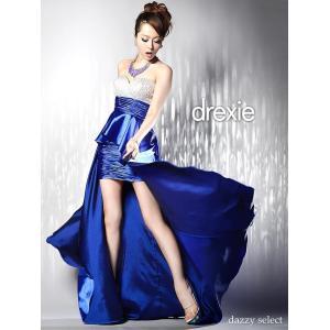 ドレス キャバ キャバドレス drexie ドレクシー 高級サテンバイカラーギャザーインナーミニ 中ミニロングドレス レディース キャバドレス|dazzy
