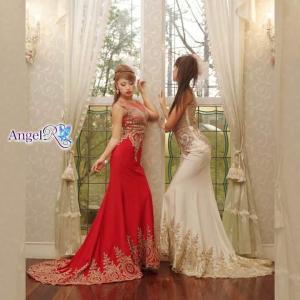 ドレス キャバ キャバドレス ワンピース AngelR ゴージャスレーススタンダードロングドレス 白 赤 黒 レディース キャバ キャバドレス|dazzy