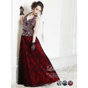 キャバ ドレス ワンピース 大きいサイズ キャバ ドレス ロング ドレス キャバ ロング LuxeStyle Sサイズ M L 豪華絢爛刺繍レー|dazzy