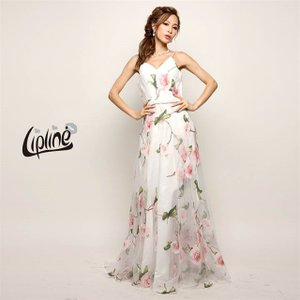 キャバ ドレス キャバドレス ワンピース ナイトドレス 花柄 Aライン ロングドレス Lip line S M B-0461 ピンク 赤 青 レ|dazzy