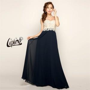 キャバ ドレス キャバドレス ワンピース ナイトドレス シフォン バイカラー ロングドレス Lip line S M B-0431 ピンク 紺|dazzy