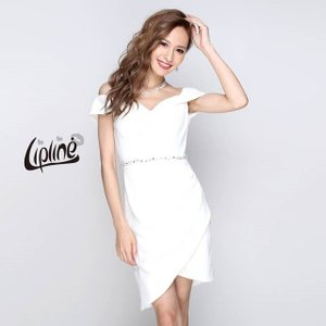 キャバ ドレス キャバドレス ワンピース ナイトドレス オフショル ラップ風 タイト ミニドレス Lip line S M 白 紺 赤 グリーン dazzy