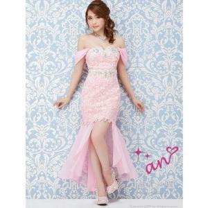 ドレス キャバ キャバドレス ワンピース an S M 総レース マーメイド ロング ドレス ピンク 青 黒 ワンカラー レディース キャバ la|dazzy