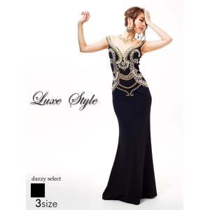ドレス キャバドレス ワンピース ナイトドレス 大きいサイズ LuxeStyle S M L サイズ 谷間 デコルテ 背中透け見せノーブルバロッ|dazzy