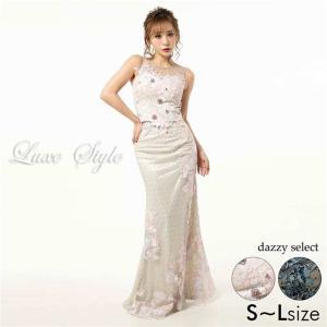 ドレス キャバ 花柄 刺繍 ドット チュール タイト ロングドレス  ドレス ワンピース ロングドレス ロング丈 セク|dazzy