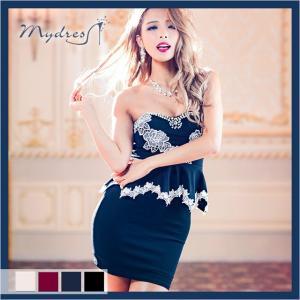 キャバ ドレス ミニ キャバドレス ワンピース ナイトドレス mydress レース 刺繍 ペプラム タイトミニドレス ベージュ 赤 黒 紺 レデ|dazzy