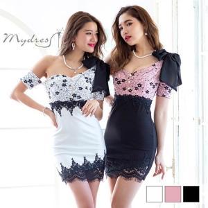 ドレス キャバ リボン ワンショルダー タイト ミニ ドレス [mydress] ドレス ワンピース ミニドレス セクシー ナイトドレス キャバ|dazzy